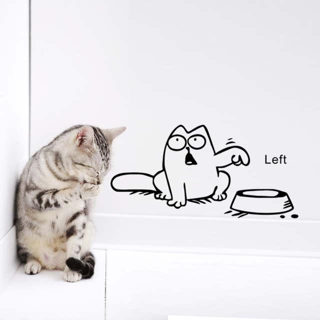 Funny Cartoon Cat Vinyl Car Laptop Window Tank Wall Sticker Bowl