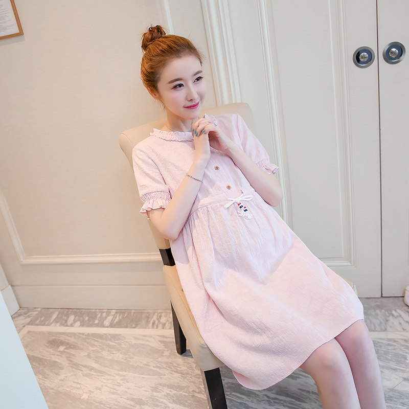 Korean version of the cotton summer dress long loose large size dress short-sleeved maternity clothes