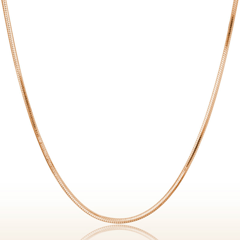 Hot Wholesale High Quality Women 925 Sterling Silver Necklace Rose Gold Chain 45cm Fashion Summer Jewelry Free Shipping