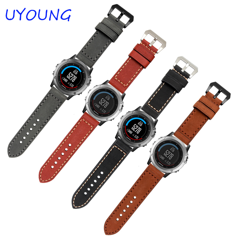 26MM Garmin Derek Fenix 3 watch band Crazy Horse Leather Watchband 3 color Genuine Leather Strap фара fenix bc21r