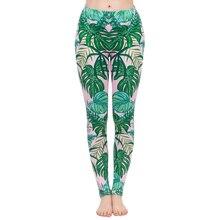 Леггинсы женские с принтом, модные эластичные штаны для фитнеса, розовые с разноцветным узором, с тропическим принтом