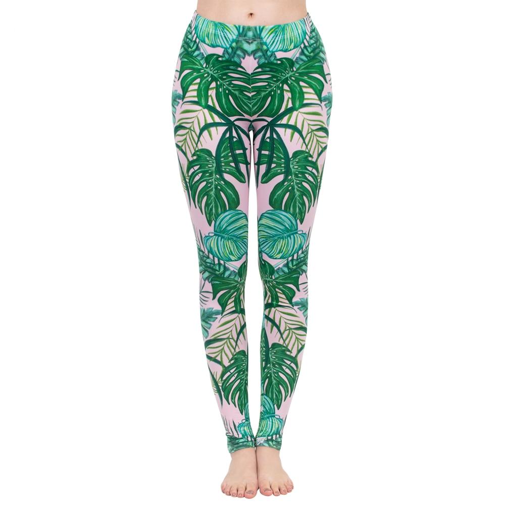 Fashion Women Legging Pink Tropics Printing With Multicolor Pattern Leggins High Elasticity Legins Fitness Pants Leggings