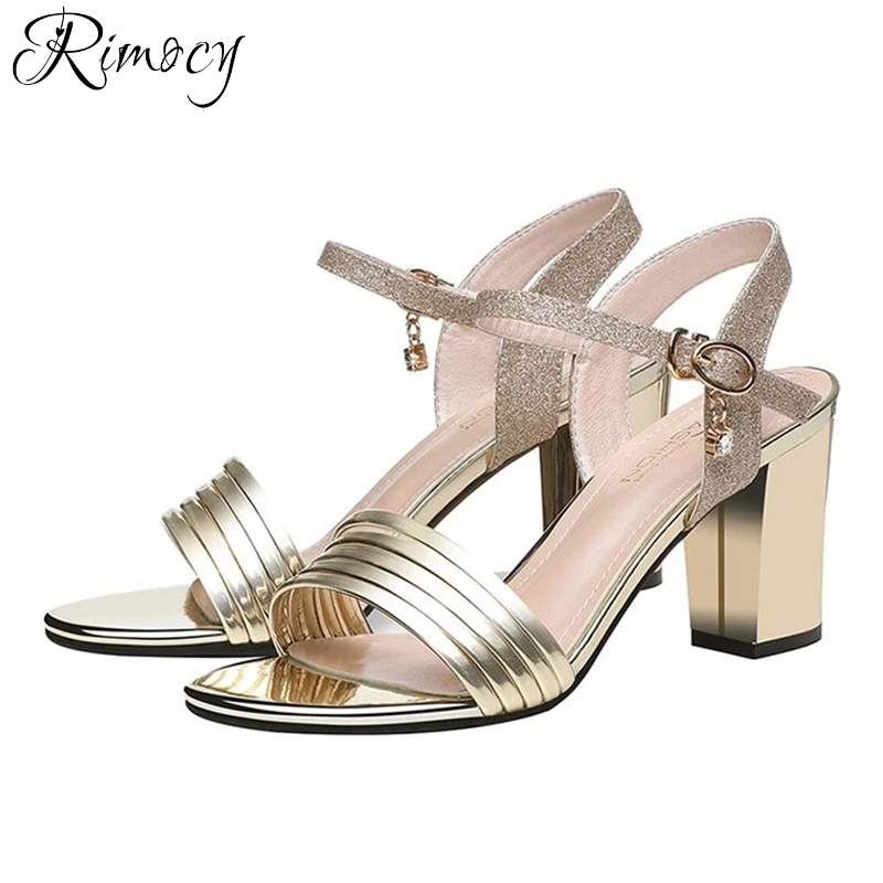 Rimocy gold silver glitter ankle strap sandals women fashion thick high  heels open toe casual summer shoes woman elegant pumps-in High Heels from  Shoes on ... 8fa79d91ea09