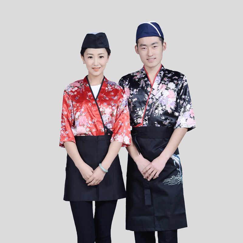Шеф-повар суши Кухня Для женщин Для мужчин японское кимоно Традиционные юката кардиган повар ресторана Униформа официантки Костюмы для косплея