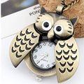 Мода сова с активными крылья дизайн карманные часы цепи ожерелья сова ожерелье Стиль Стимпанк Латунь Ожерелье