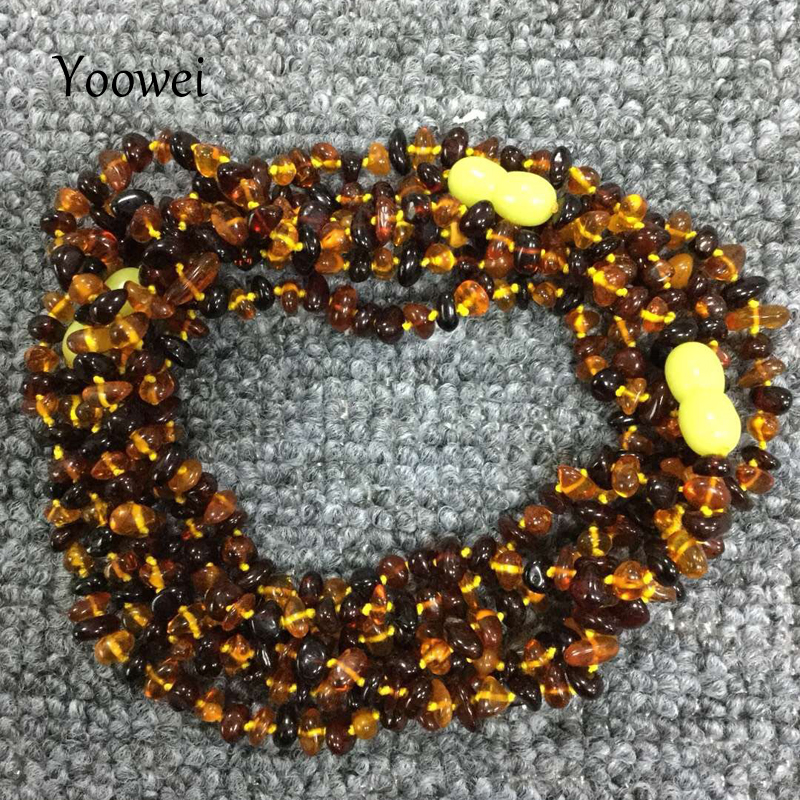Yoowei Natural Amber Necklace for Gift Genuine Irregular Bead Baltic Amber Chip Layered Bracelet Jewelry Long Necklace Wholesale цена