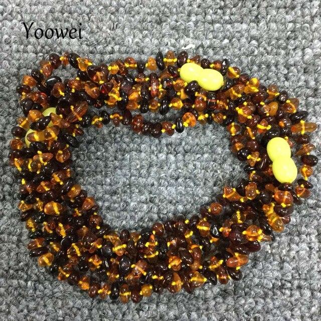 f42f8f5d4d15 Yowei collar de ámbar Natural para regalo genuino irregulares cuenta  Báltico ámbar Chip capas pulsera joyería collar largo al por mayor