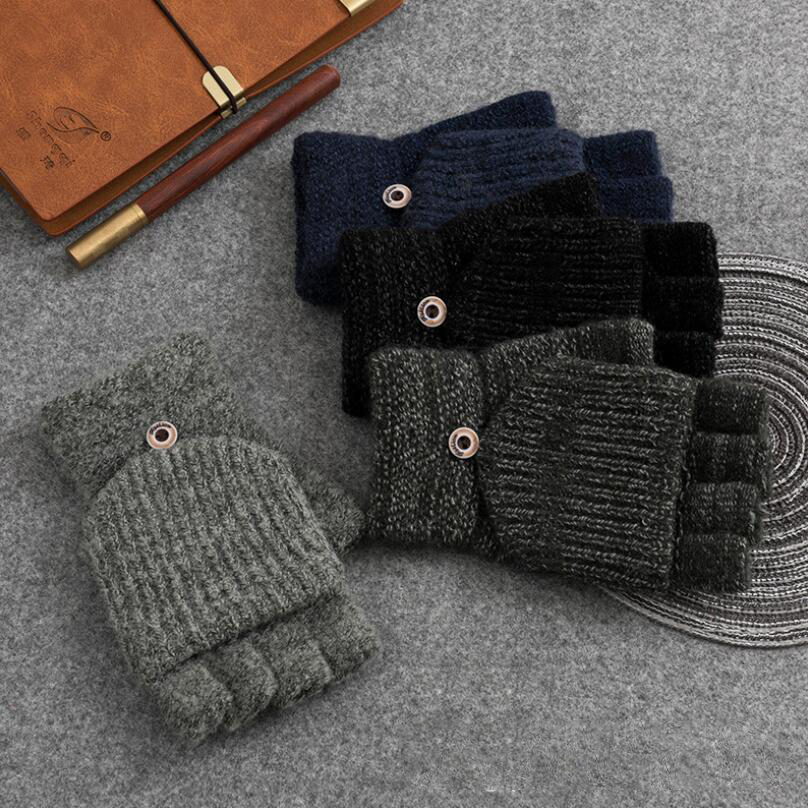 Mittens Button Glove-Plus Flip Half-Finger Striped Winter Warm Male Thick New Men Exposed