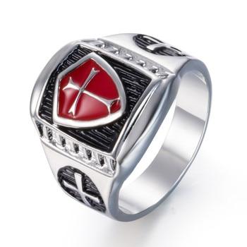 ZMZY Rot Rüstung Ritter Templer Crusader Kreuz Schild männer Ring Retro Vintage Medieval Signet Edelstahl Ringe Schmuck Geschenke