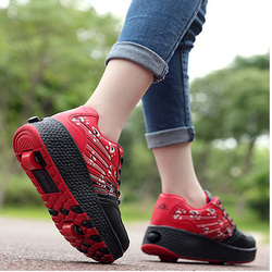 Adult Kids Shoes Roller Shoes heelies Roller Ice Skates Shoes Girl Boy Invisible Pulley Roller Skating 2018 new sports Sneakers