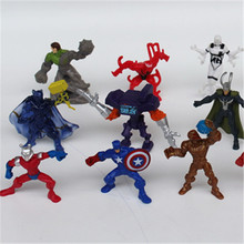 50pcs America Super Hero The Avengers Captain America Iron Man Black Widow Thor Spiderman Soft Doll Action Figure Model boy toy sermoido sale spiderman iron man captain america superman figure motorcycle super hero model cap building blocks set model kits