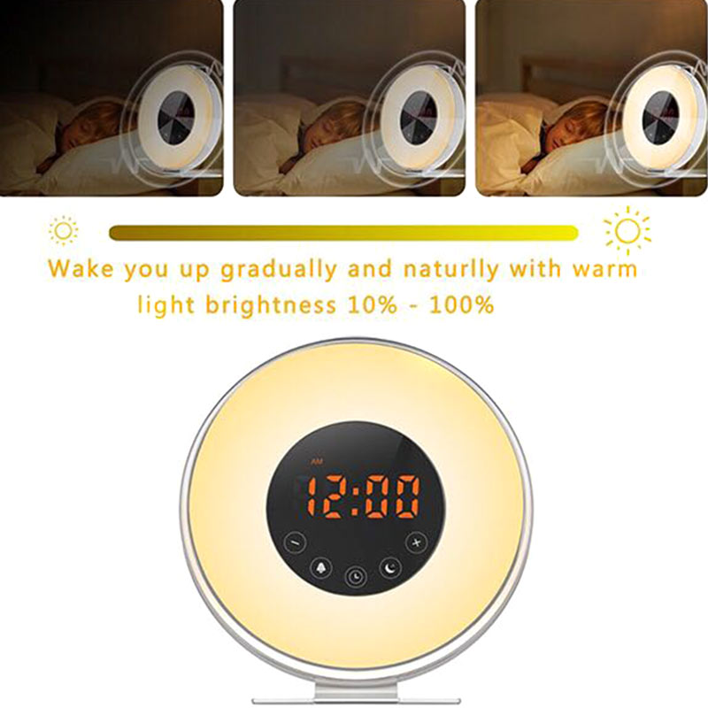 LED Light Sunrise Simulation Lights Wake Up Alarm Clock Sunset Fading FM Radio Night Lamp CLH@8 будильник philips hf3520 01 wake up light