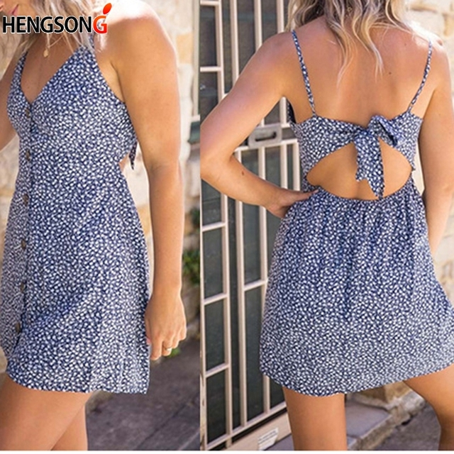 Women Summer Dress Beach Sling Dress Polka Dot Print Dresses V Neck Sleeveless Backless Sexy Dress Vestidos