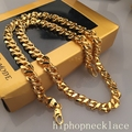 8 Words Shaped Gold Chain Necklace Men Jewelry With 8 MM Wide  Yellow Gold Plated Link Chain Necklace Wholesale