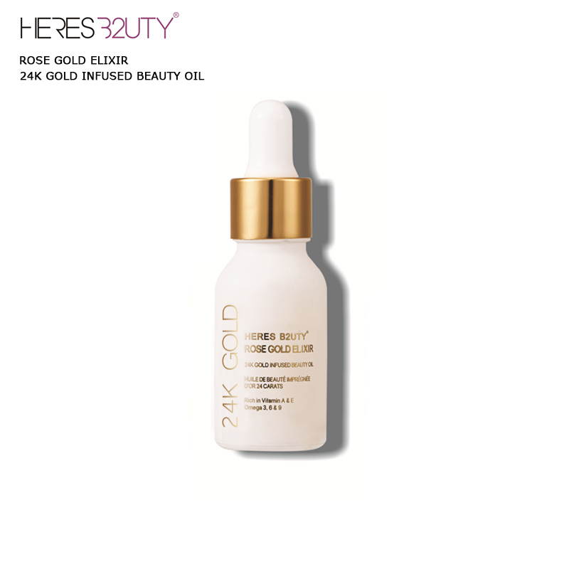 Brand HERES B2UTY 24K GOLD INFUSED BEAUTY OIL Primer Foundation Rich in Vitamin A&E Moisturizing Anti-Aging Acne Treament acido b c rich pxmhgt