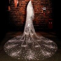 Фата цвета слоновой кости Длинные свадебные украшения для невесты вуаль кружева с цветами Длинные фата до пола кружевные вуали для церкви