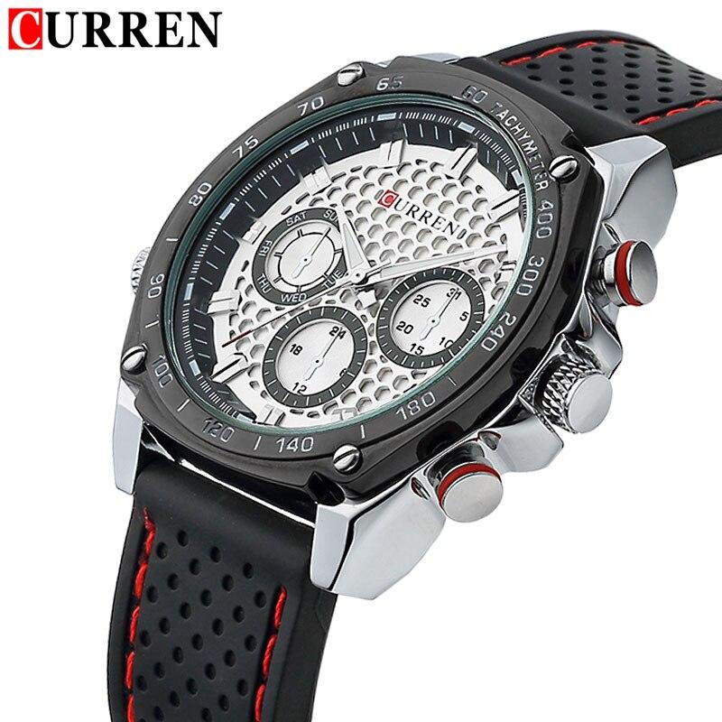 CURREN Strap Military-Watch Quartz Analog-Clock Brand Rubber Masculino Army Men Relogios