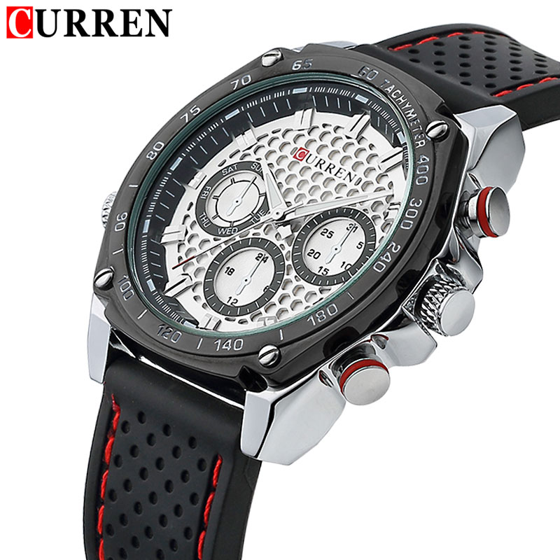 2016 CURREN Luxury Brand Military Watch Men Quartz Analog Clock Rubber Strap Clock Man Sports Watches Army Relogios Masculino skmei luxury brand military watch men quartz analog clock nylon strap clock man sports watches army relogios masculino