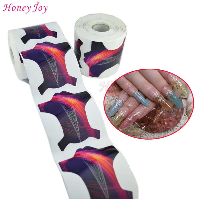 300pcs/lot Professional Sharp Tip Nail Form Tips Nail Art Guide Form Acrylic Tip Gel Extension Sticker Nail Polish Curl Form