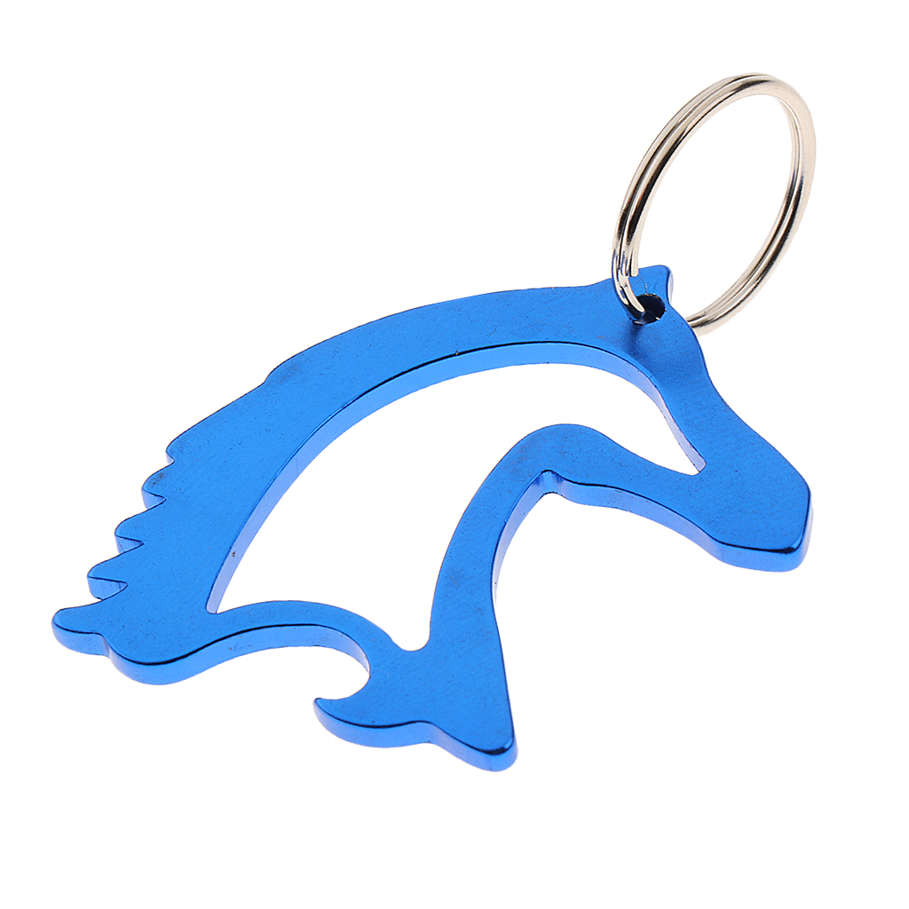 Aluminum Alloy Horse Head Pattern Beer Bottle Opener with Key Ring Keychain Bag Pendent Blue/Red 2