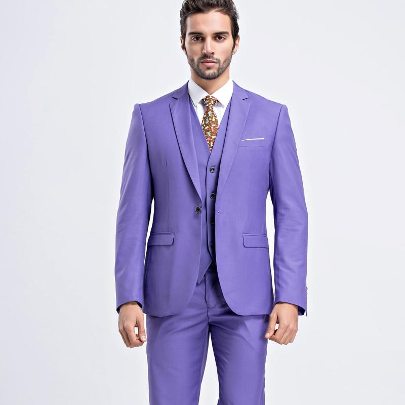Chaqueta + Pantalones + Chaleco) flaco Trajes Para Hombre Púrpura ...