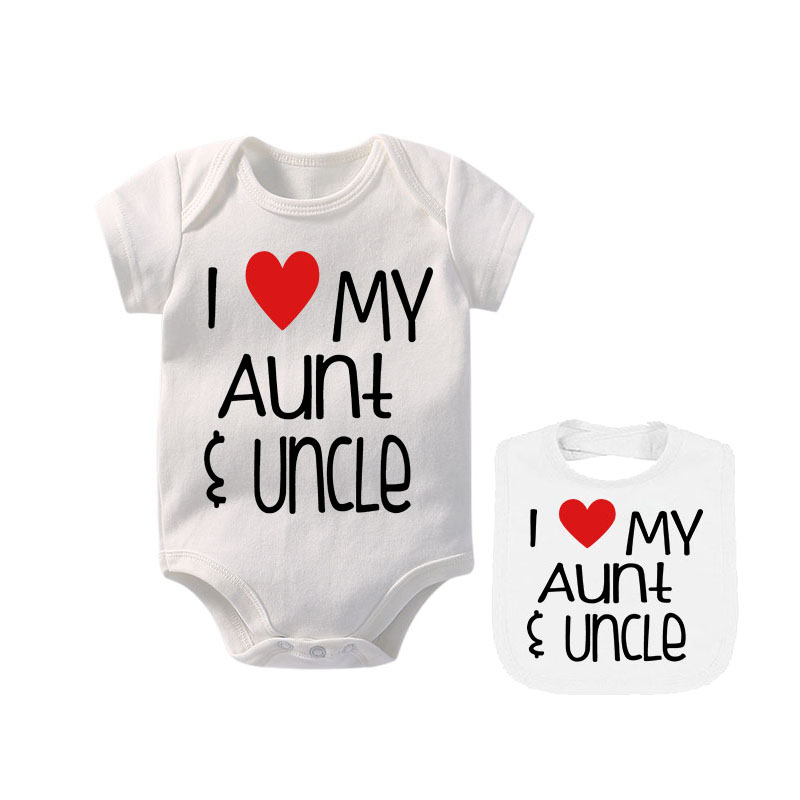 Ysculbutol 2019 New Design I Love My Aunt And Uncle With Bibs Custom Baby Bodysuit And Matching Bib Gift Showing