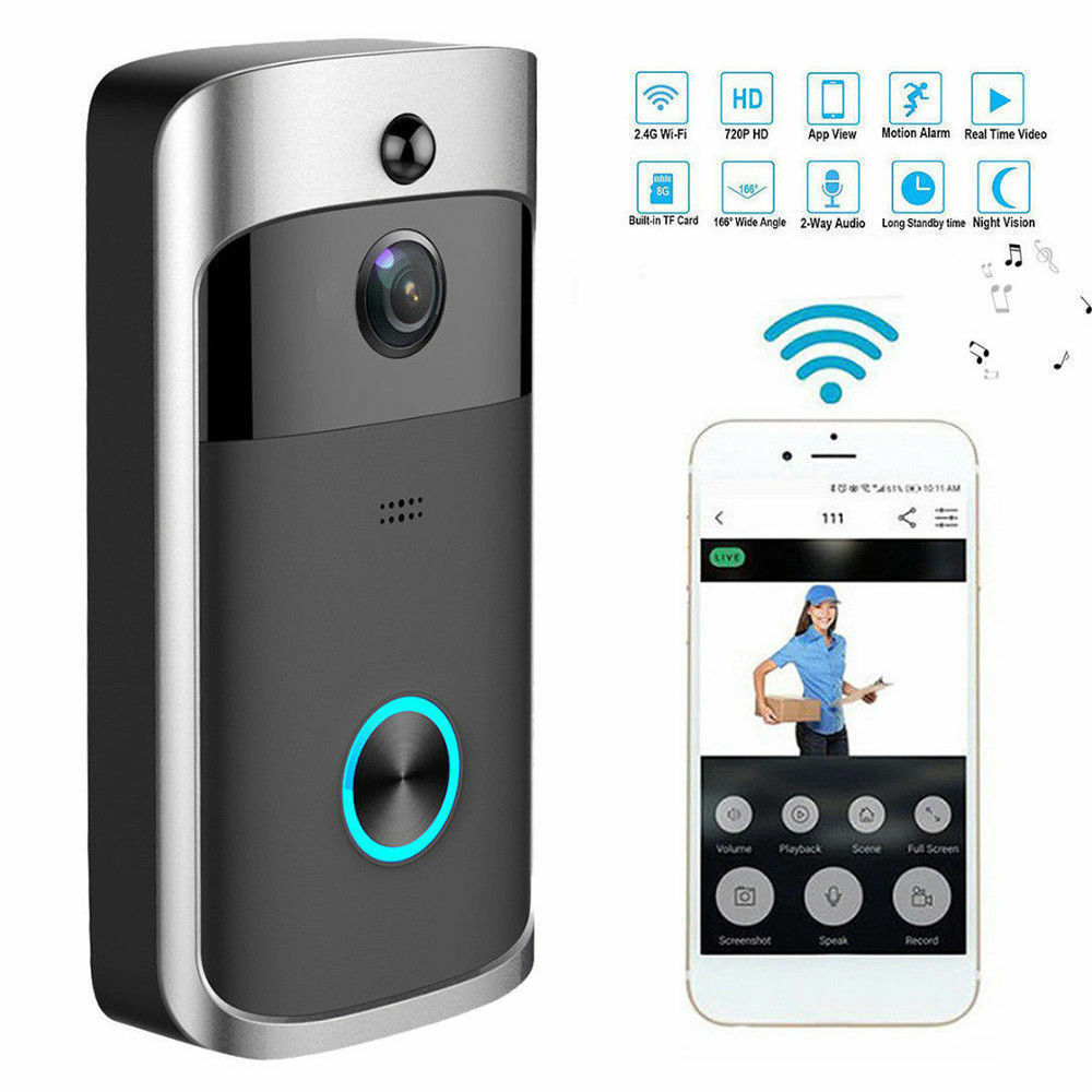 Higestone WiFi Smart Video Doorbell IP Camera Ring Door bell Two Way Audio Wireless APP Control iOS Android Battery Powered image