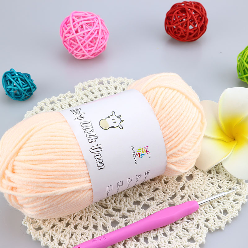 ⑤250g/5 bolas seda de la leche del bebé del ganchillo del algodón ...