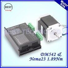 Nema 23 1.89Nm stepper motor 57HS7630A4 3A 270 Oz-in single shaft 6.35mm & DM542 M542 1.0-4.2A DC24-50v Microstep 256
