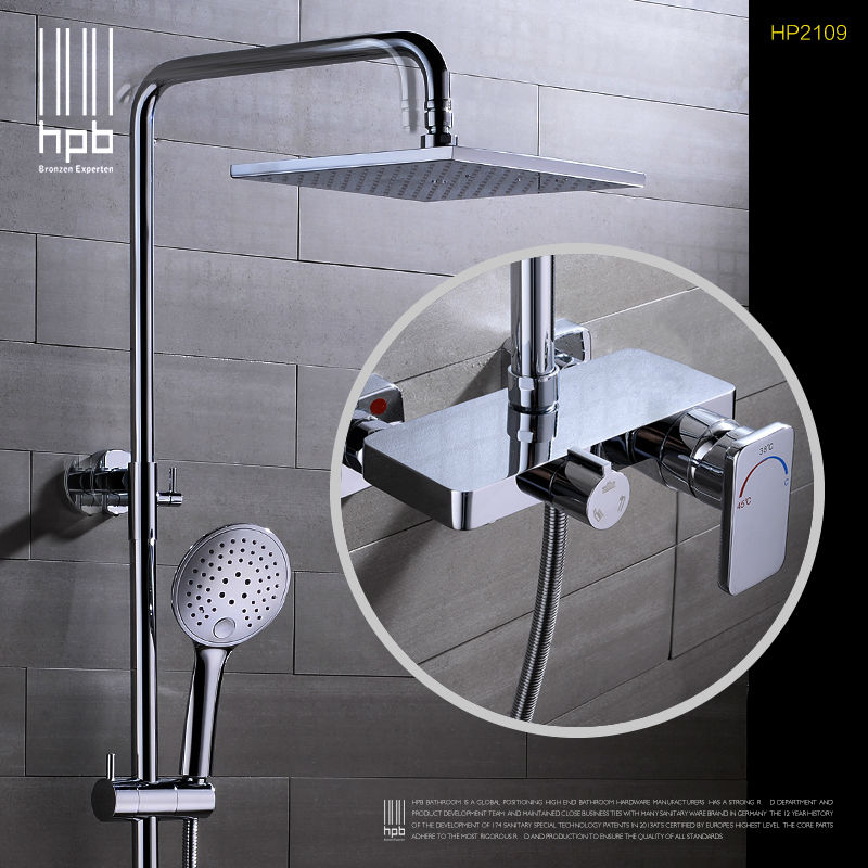 HPB Brass Thermostatic torneira banheiro Bathroom Hot And Cold Water Mixer Bath Shower Set Faucet HP2109 sognare new wall mounted bathroom bath shower faucet with handheld shower head chrome finish shower faucet set mixer tap d5205