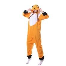 Флис для взрослых унисекс лиса кигуруми костюм для косплея «Пижама» животных комбинезон пижамы