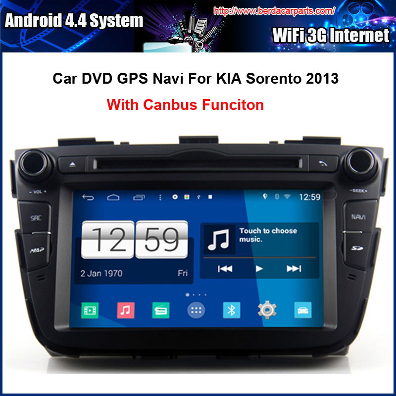 7 Inch AndroidCar DVD Player for KIA SORENTO 2013-2014 GPS Navigation Multi-touch Capacitive screen,1024*600 high resolution