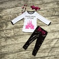 Fall/Winter outfit baby girls clothes fairytale castles Sequins kids Sequins once upon a time pants matching bow and necklace