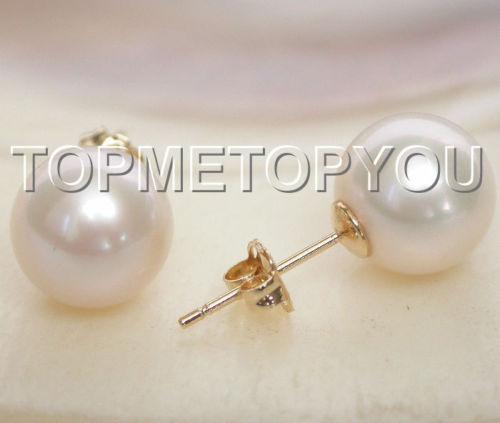 Livraison Gratuite>>>> AAA Naturel 9mm parfait rond blanc perles Boucle D'oreille 14 K solide or post E123