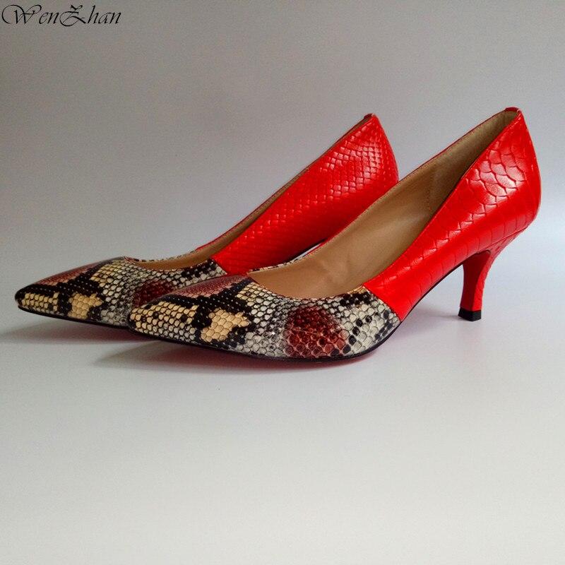 WENZHANเงาหนังงูรองเท้าสีแดง7เซนติเมตรฤดูใบไม้ผลิบางส้นเท้านุ่มสั้นปั๊มรองเท้าS Hineงานแต่งงานรองเท้า35 43 710 24-ใน รองเท้าส้นสูงสตรี จาก รองเท้า บน   1