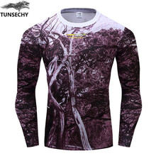 TUNSECHY Brand Camouflage 3D Print Long Sleeve Men T-shirt Bodybuilding Tight Cheap Price Fashion T-Shirt Free Shipping