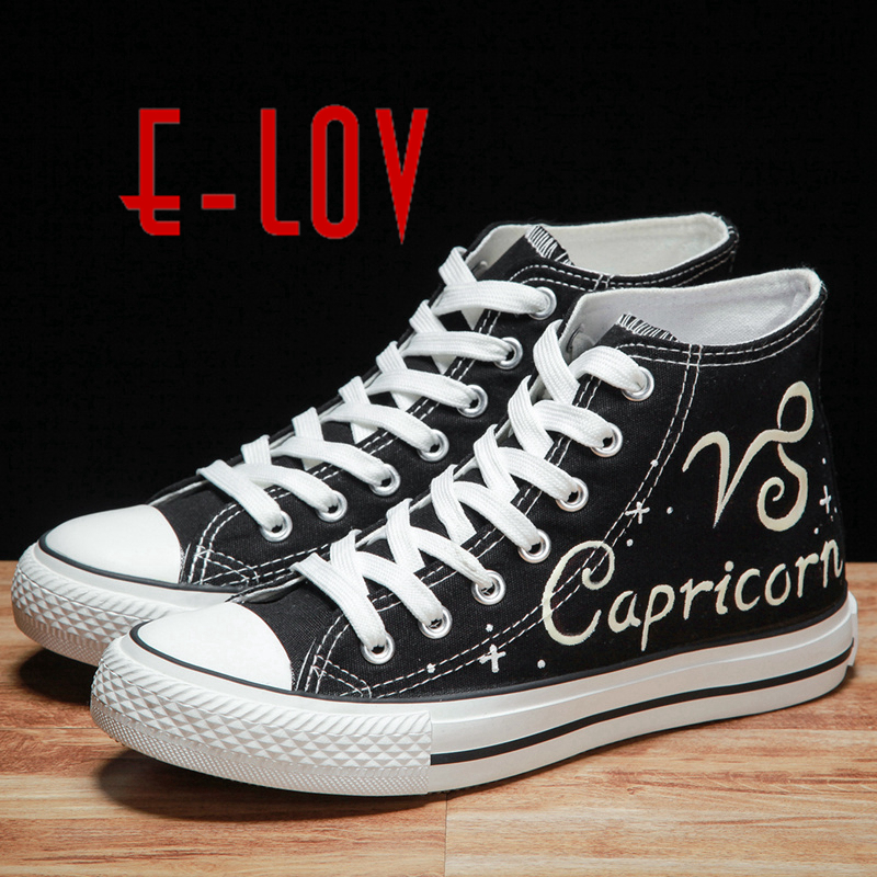E-LOV Constellation Capricorn Luminous Canvas Shoes Hand-Painted Women Casual Shoes Noctilucence Personalized Platform Shoes e lov unique design taurus horoscope luminous canvas shoes women diy graffiti couples lovers casual flats zapatillas mujer
