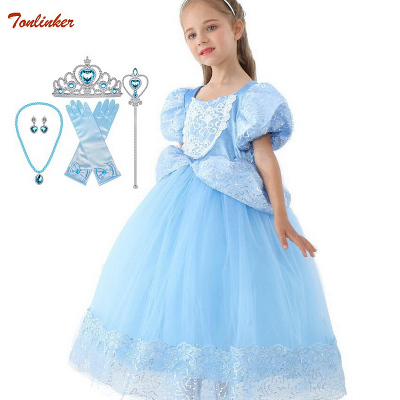 Girls Princess Cinderella Disfraces Kids Nall Gown Dress Blue Queen Dress Up Halloween Christmas Party Sequined Cosplay Costume