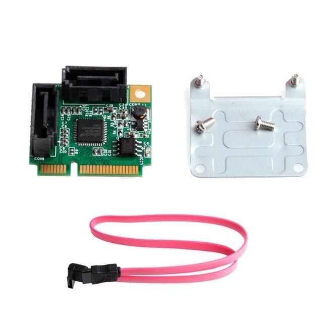 Mini PCI-E PCI Express 2 Порта SATA 3.0 III 6 Гбит/С RAID-Контроллер Карты Адаптер