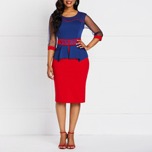 b2a6c97bcb Biuro sukienka kobiety frezowanie Sexy Mesh rękawem falbany mody hafty  szczupła lato Red Casual elegancki pracuj