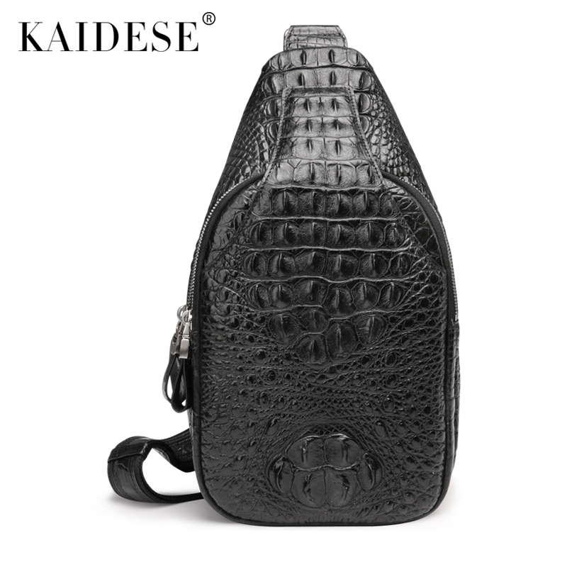 kaidese Crocodile leather bag bag mens singles chest pocket men's fashion leisure crocodile Bag Satchel leisure printed and double pocket design satchel for women