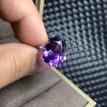 Anillo de amatista Natural, gemas de 7 quilates, simple y exquisito, Plata de Ley 925, artesanía y práctico