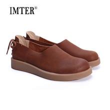 Женская обувь квартиры коричневый / кофе / зеленый / синий 100% подлинные кожаные плоские туфли женщин круглым носком резиновой подошвой обуви (1023-1)