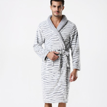 2017 Flannel Striped Men's Thickening Bathrobe Winter Warm Long Sleeve Dressing Gowns For Men Top Quality Robe Sell Online