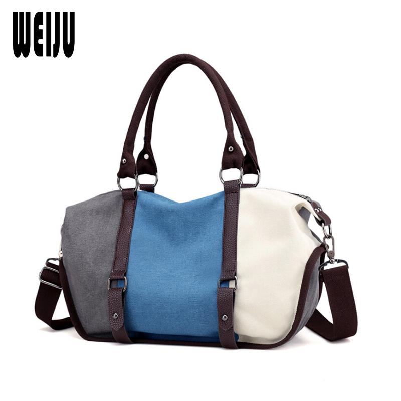 WEIJU 2017 Canvas Bag Women Patchwork Shoulder Bags Ladies Large Capacity Casual Tote Bag Women's Handbags Sac A Main aosbos fashion portable insulated canvas lunch bag thermal food picnic lunch bags for women kids men cooler lunch box bag tote
