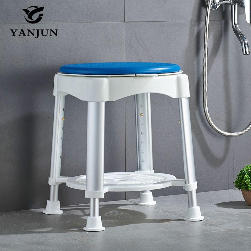 YANJUN Bath Stool With Padded Rotating Seat Round Bath Stool With Adjustable Showering for Elderly Seniors