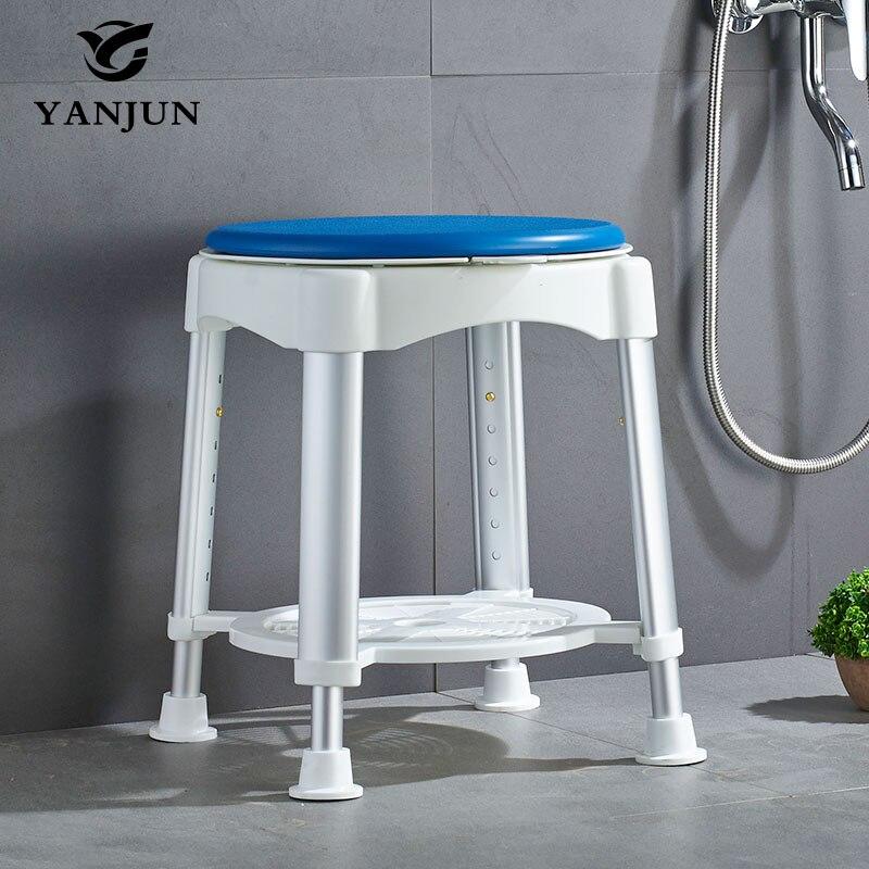 Tabouret de bain rond avec siège rotatif, YANJUN, avec douchette réglable pour les personnes âgées, les personnes âgées ou les blessés