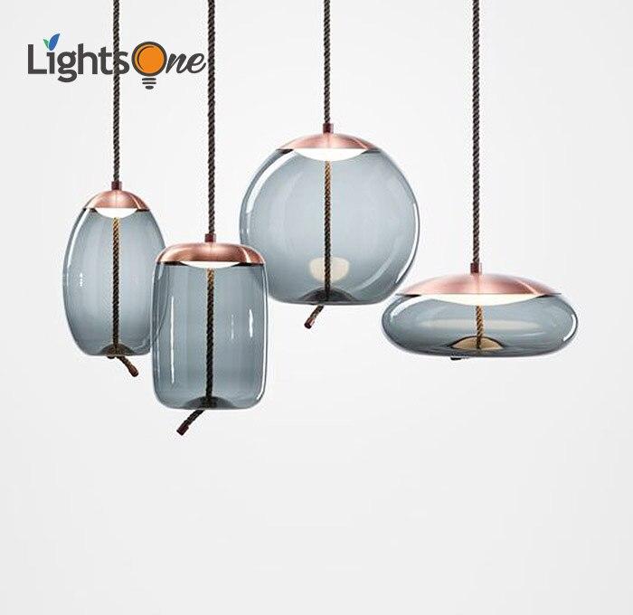 Scandinavian post modern study restaurant bar pendant lamp model bedside beautiful decorative rope glass Pendant Lights