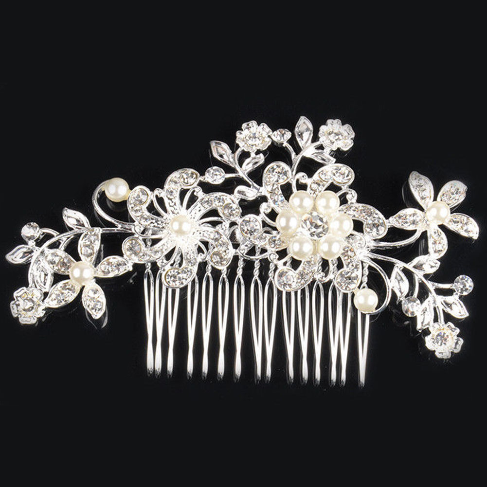 Wedding accessories pearls flowers pearls - Aliexpress Com Buy Bridal Hair Accessories Lace Flower Crystal Pearl Rhinestone Hair Clip Comb Hairpin Diamante Tiaras Brand Wedding Hair Jewelry From