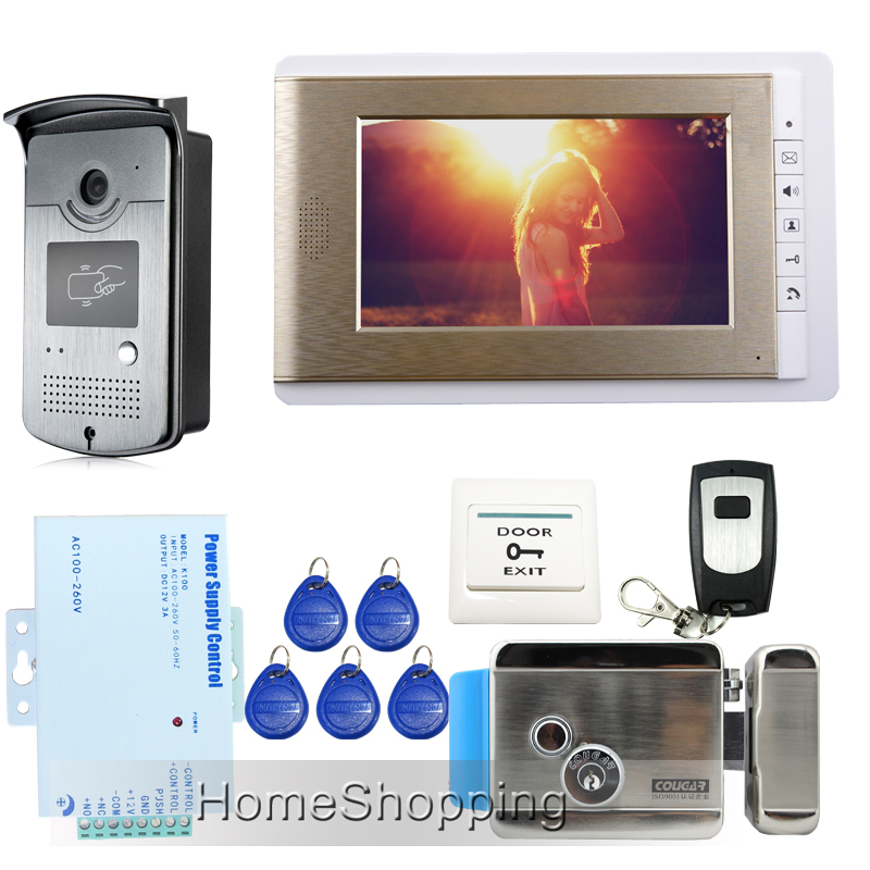 FREE SHIPPING Wired 7 Monitor Video Door Phone Intercom Kit + RFID Access Doorbell Camera + Electric Control Door Lock In Stock